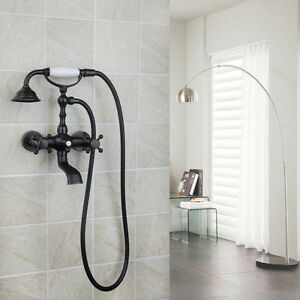 Oil Rubbed Bronze Wall Mounted Clawfoot Bath Tub Faucet Hand Shower