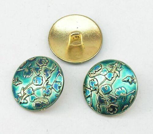 blau 07.69//332 8 Metallknöpfe Knöpfe  20mm gold