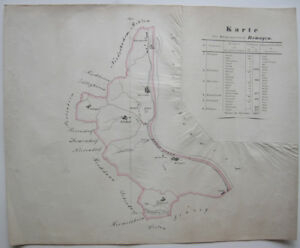Karte-Buergermeisterei-Remagen-Rheinland-Pfalz-kolor-Orig-Kupferstich-1820