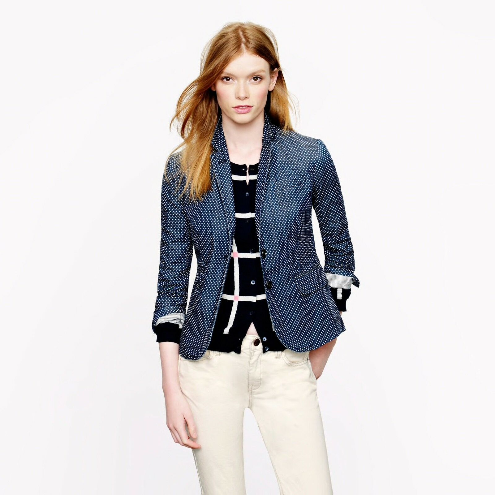 NWT J CREW Classic schoolboy blazer in indigo polka dot, Size 2,