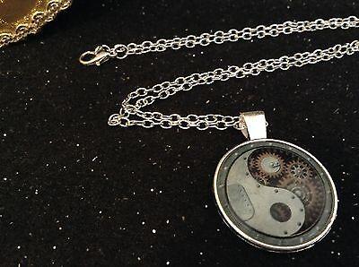 Silver Tone Necklace Yin Yang Steam-punk Silver Tone Cabochon Pendant
