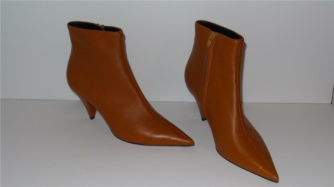 1400 CELINE RUST SOFT LAMBSKIN LEATHER ANKLE BOOTS 70 SIZE 39.5