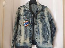 EMBROIDERED PATCHES DISTRESSED DENIM JACKET COAT BLAZER SHIRT UK 10/12 SAMPLE