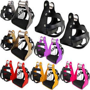 Endurance-Trail-Stirrups-With-Cage-Horse-Saddle-Lightweight-Aluminum-For-Adults