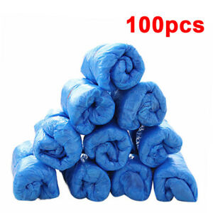100 PCS Plastic Disposable Shoe Covers Cleaning Overshoes Protective Hot -AO88