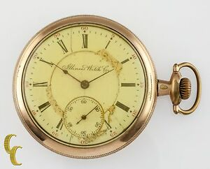 Gold-Filled-Illinois-Watch-Co-Antique-Open-Face-Pocket-Watch-Gr-184-16S-17J