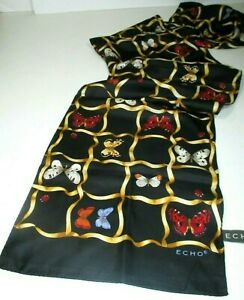 ECHO-BUTTERFLIES-amp-LADYUGS-ALL-OVER-LONG-SILK-SCARF-SIGNED-amp-TAGGED-MINT-53X11-6