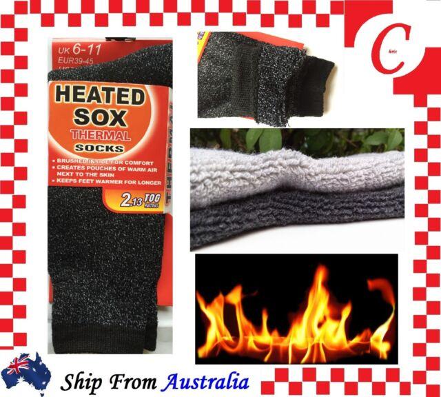 MEN MENS Thick Winter Warm Thermal HEATED Heat Boot Cushion WORK SOCKS Black