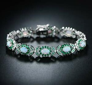 1960s-Harry-Winston-Oval-Opal-amp-Emerald-14k-White-Gold-Over-Tennis-7-5-034-Bracelet