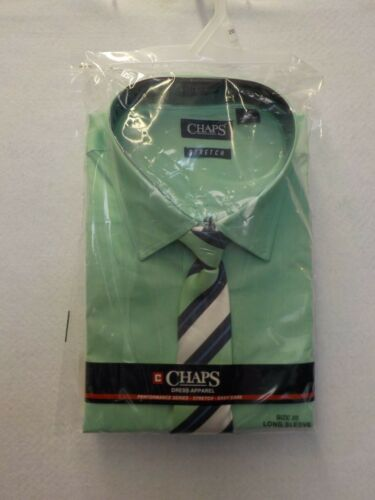 BOYS SIZE 20 CHAPS MINT GREEN SHIRT AND STRIPED CLIP ON TIE LONG SLEEVE  #11752