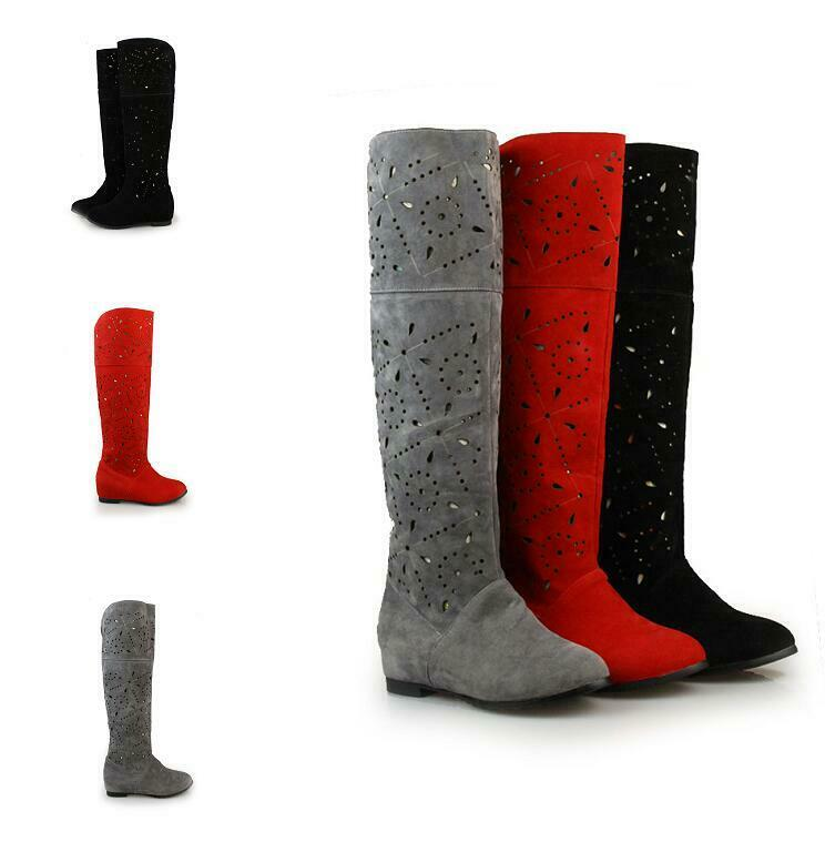 Women Hollow out Slip on Hidden Heel Breathable Casual New Knee High Boots Sweet