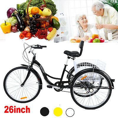 """7-Speed Adult 26/"""" 3-Wheel Tricycle Trike Bicycle Bike Cruise With Basket 3 Color"""