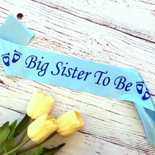 Blue /'Big Sister To Be/' Baby Shower Satin Sash Boy Gender Reveal Gift for sister