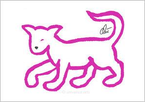 JACQUELINE DITT -  Pink Cat limitiert 1/ 55 sign. Grafik A3 Katze Katzen Bilder