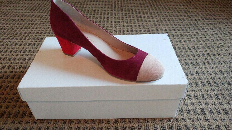 NWB SHOES OF PREY Women Suede Round Toe Pumps shoes sz 38.5 EUR  8.5 US