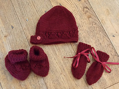 Mitten Booties Set 0-3// 3-6// 6-9 Months New Hand Knitted Burgundy Baby Bonnet