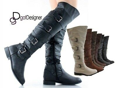 Women's Riding Boot Thigh High Over The Knee High  Motorcycle  Buckles Flat NEW