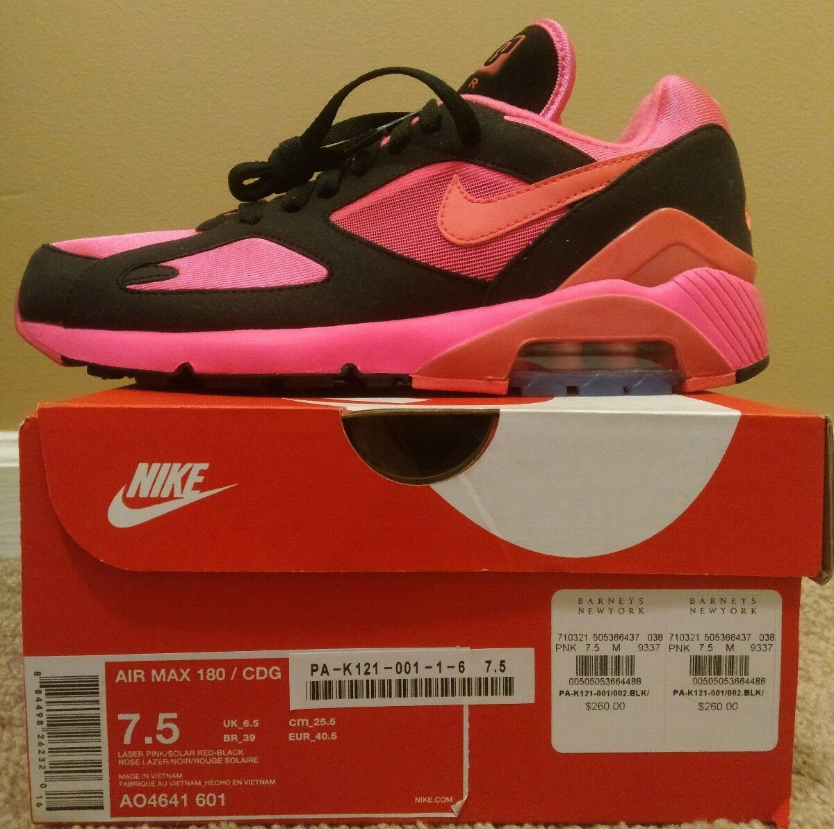 Nike Air Max 180 CDG  Comme des Garcons  US 7.5 AO4641 601 Black Pink Solar Red
