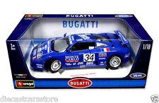 Bburago Bugatti EB110 Super Sport 1994 Race Blue 1/18 Diecast Car Model 11039