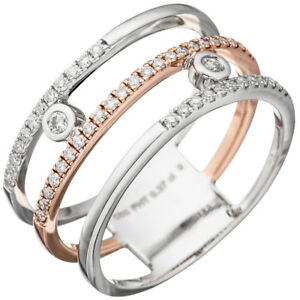 Fine Jewellery Diamond 585 Gold White Gold Rose Gold Good Companions For Children As Well As Adults Bright Wide Ladies Ring 3 Rows With 49 Diamonds