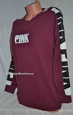 Victoria/'s Secret PINK Varsity Crew V Neck Pullover Sweatshirt Black White S M