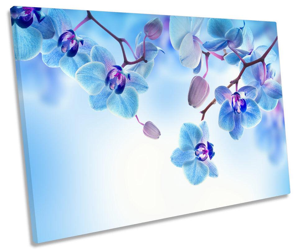 Blu Floreale Fiori a muro arte unica stampa foto