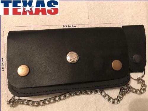 Genuine-Leather-Motorcycle-Trucker-Biker-Chain-Wallet-inside-Zipper-Black B10