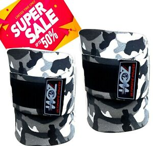 Weight-lifting-Heavy-Duty-Camo-Knee-Wraps-PowerLifting-Gym-bodybuilding-Support