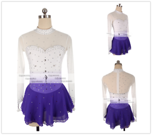 White Girl Competition Figure skating Dress Ice Skating Dress Costume Sparkle