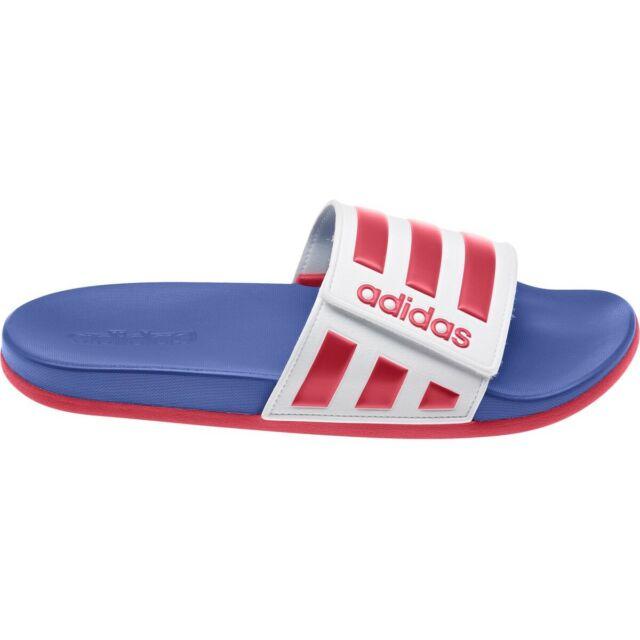 Adidas Adilette Comfort ADJ Slides Red White Blue Sandal EG1346 Mens Sizes 7-11