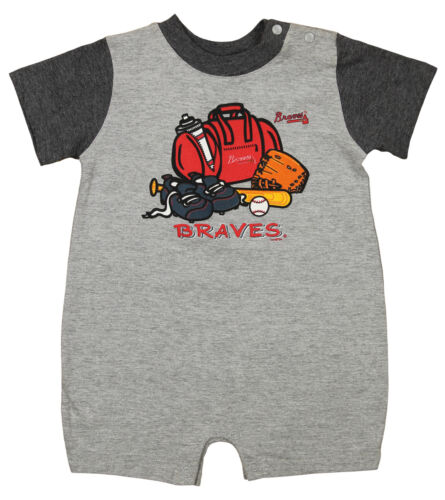 Baseball Atlanta Braves MLB Baby Boys Infants Big Logo Jersey Romper Grey