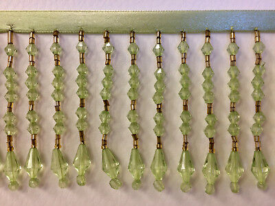 "3/"" CRYSTAL BEADED FRINGE TRIM MINT GREEN AND GOLD CBF-20//14-12"