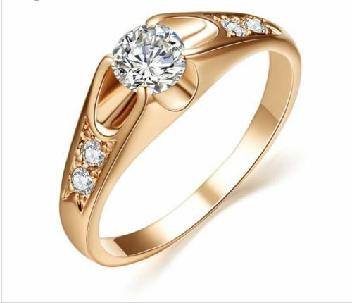 0.70 Ct Diamond Engagement Ring Hallmarked 14K pink gold Clarity VVS1 Size 6