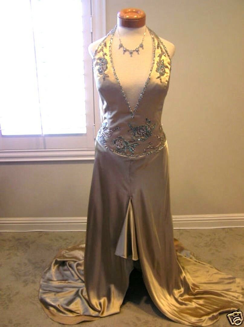 Alyce gold pageant prom evening formal party social occasion dress size16 NEW