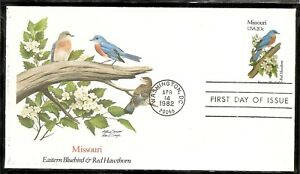 US-SC-1977-State-Birds-And-Flowers-Missouri-FDC-Fleetwood-Cachet