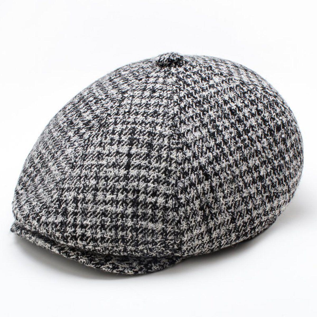 Men Wool Herringbone Tweed Gatsby Newsboy Cap Ivy Hat Golf Driving Flat  Cabbie  8978fa84a7a4
