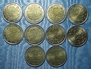 2004-FINLANDE-2-euro-COMMEMORATIVE-10-pieces-circulated-poor-quality