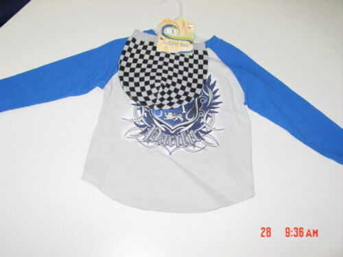 NWT Toddler Boys Op Long Sleeve T Shirt and Beanie Hat Gray Blue