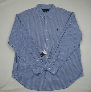 Top Mens Fit Logo White Shirt Dress Stripe Classic Lauren Blue Ralph Pony Xxl 5Uvqxa