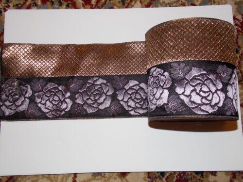 10cm Oro Rosa Jacquard bordado de la cinta de color de malva encaje y apliques recorte