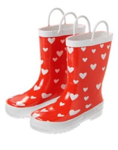 GYMBOREE MOD ABOUT ORANGE RED w// HEARTS A//O RAIN BOOTS 10 11 12 13 1 NWOT