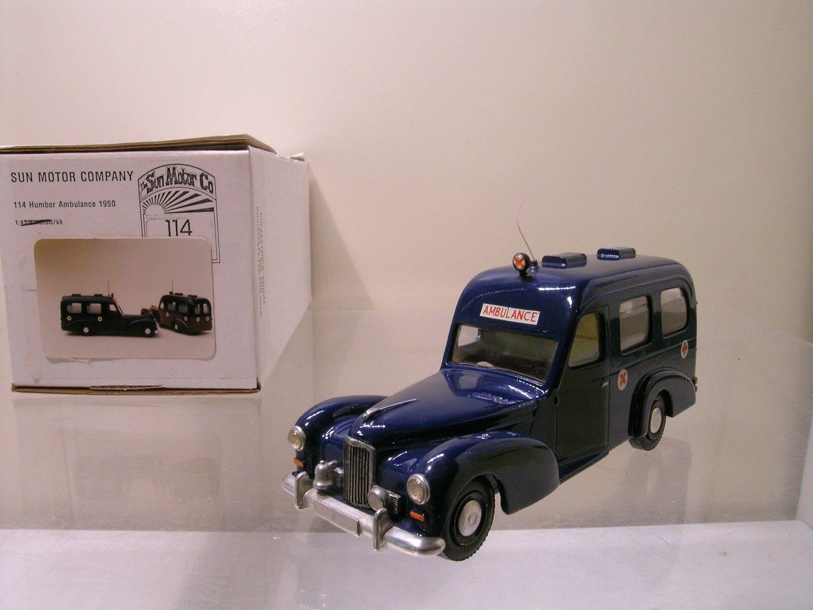 SUN MOTOR COMPANY 114 HUMBER AMBULANCE 1950 bleu RESIN HANDBUILT BOXED 1 43