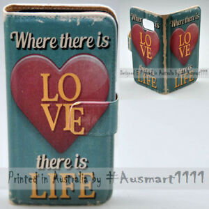 For HTC Series Mobile Phone Love Life Phrase Print Flip Case Wallet Phone Cover