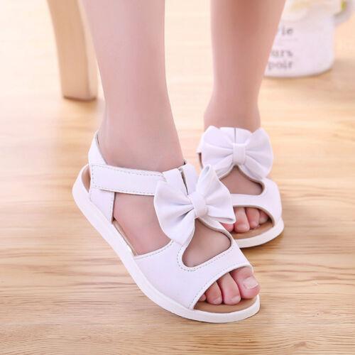 Summer Kids Girls Children Sandals Bowknot Girls Flat Pricness Shoes Fit 1T-6T