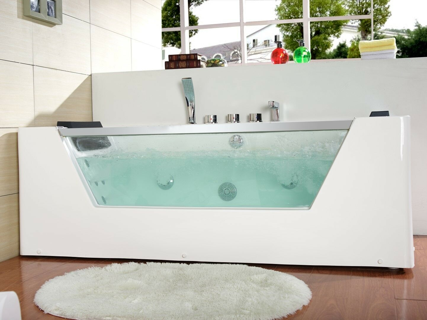 1690mm 22 JET Whirlpool Bath Shower Spa Jacuzzi Straight 2 person ...