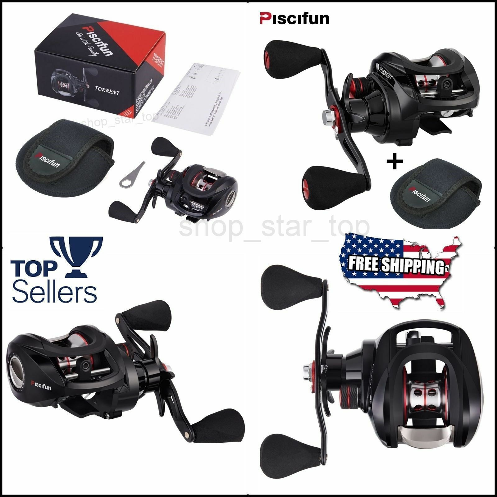 Piscifun Torrent Baitcasting Reel With Cover Bag Carbon Drag  7.1 1 Gear SET BEST  best-selling