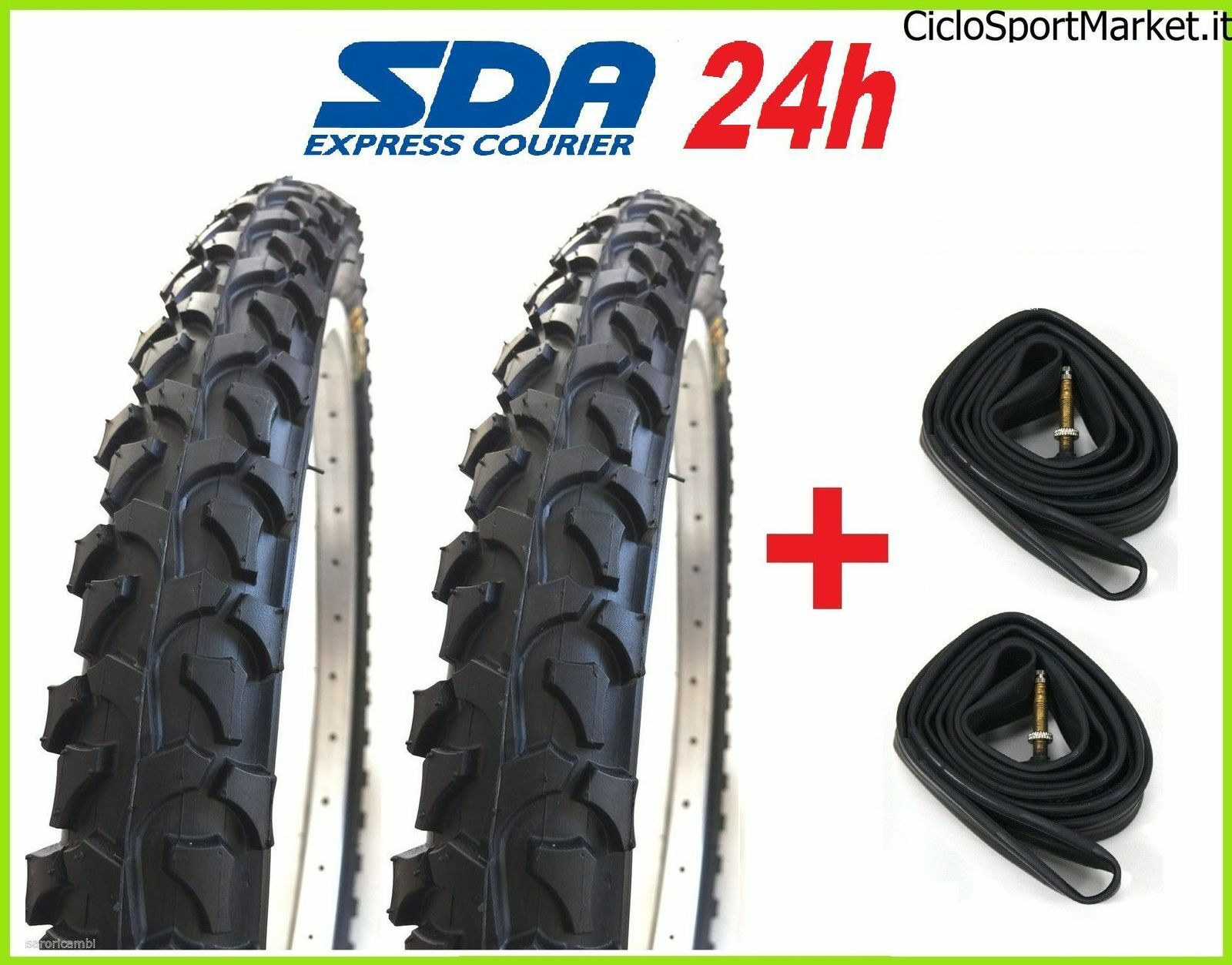 2 TYRES AND + 2 INNER TUBES FOR MTB BICYCLE black 26 SUITABLE FOR 1.95 (54-559)