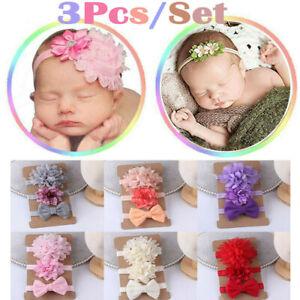 3Pcs Baby Girl Headband Ribbon-Flower-Bows-Elastic Newborn Baby-Hair Band Turban