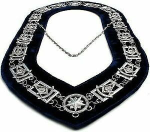 Masonic Regalia MASTER MASON RHINESTONE GOLDEN Chain BLUE COLLAR DMR-400GBRS