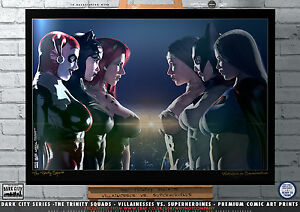Supergirl-Batgirl-Wonder-Woman-Harley-Quinn-Catwoman-Poison-Ivy-Gotham-A3-Print